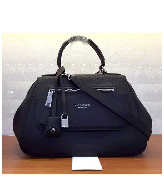 Marc Jacobs Litchi Veins Leather Flap Tote Bag In Black