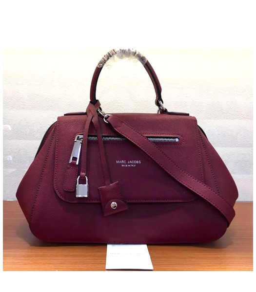 Marc Jacobs Litchi Veins Leather Flap Tote Bag In Jujube Red