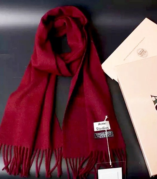 Acne Studios High-quality Lamb Wool Scarf In Dark Red