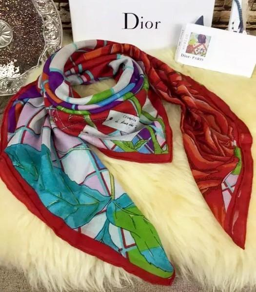 Christian Dior Hot-sale Rose Pattern Square Scarf In Red