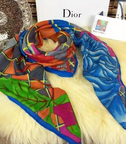 Christian Dior Hot-sale Rose Pattern Square Scarf In Green