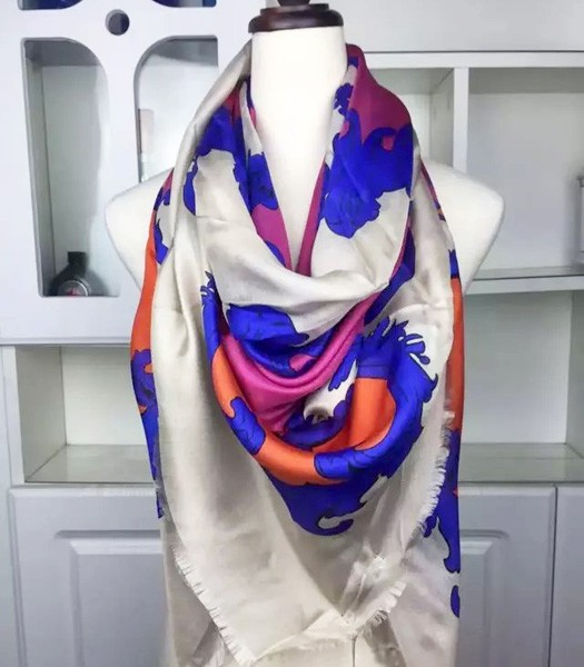 Givenchy Milan Fashion Week Catwalk Models Silk Square Scarf In Purple/Blue