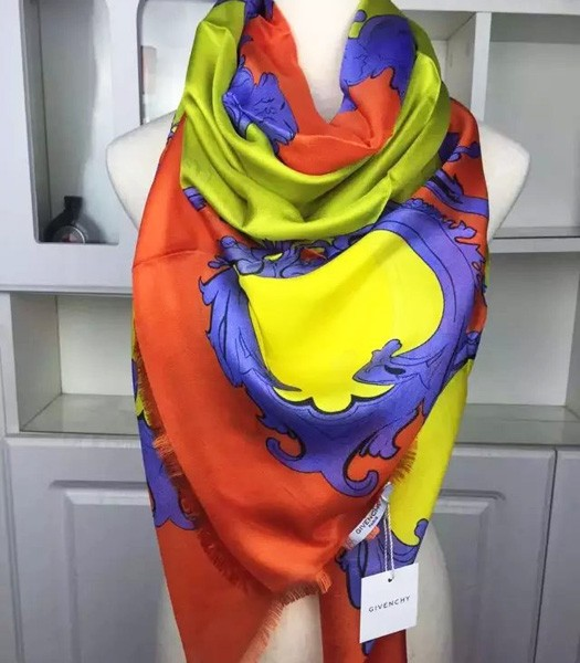 Givenchy Milan Fashion Week Catwalk Models Silk Square Scarf In Orange/Yellow