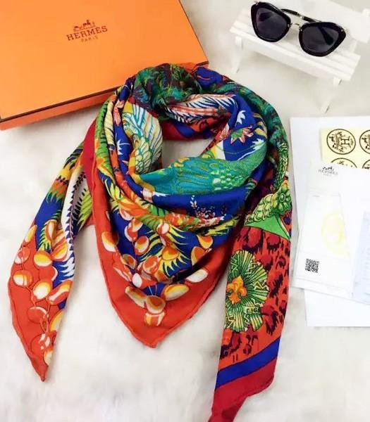 Hermes Exclusive Phoenix Pattern Square Scarf In Blue