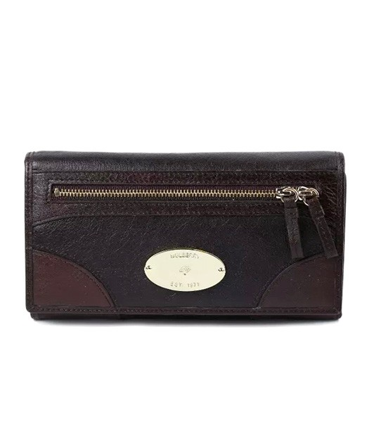 Mulberry Long Wallet 8893 Dark Coffee Natural Leather