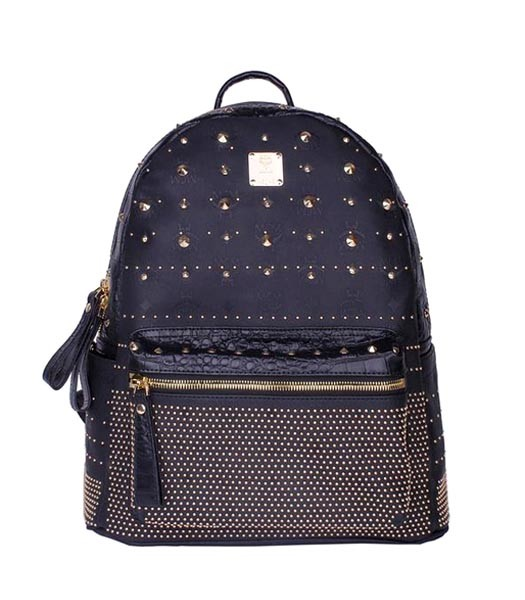 MCM Rivets Snakeskin Studded Leather Medium Backpack In Black