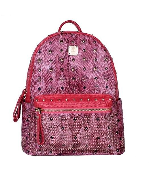 MCM Rivets Snakeskin Studded Leather Medium Backpack In Red