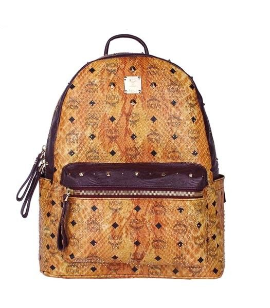 MCM Rivets Snakeskin Studded Leather Medium Backpack In Red Golden