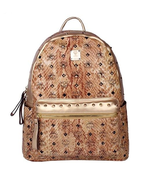 MCM Rivets Snakeskin Studded Leather Medium Backpack In Golden