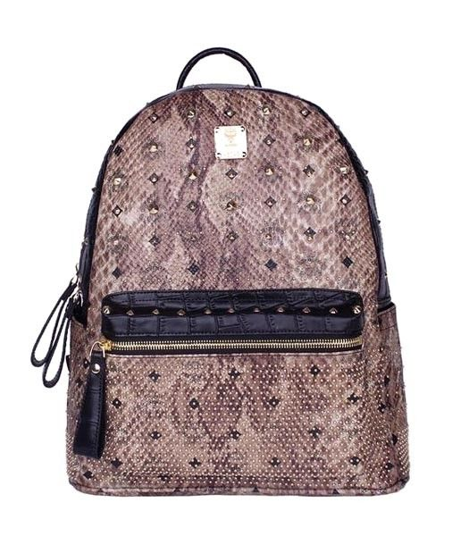 MCM Rivets Snakeskin Studded Leather Medium Backpack In Tyrant Golden