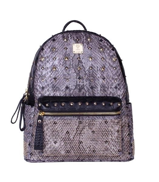 MCM Rivets Snakeskin Studded Leather Medium Backpack In Grey