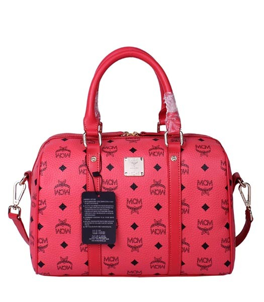 MCM Boston Vintage M218 Watermelon Red Leather Medium Tote Bag