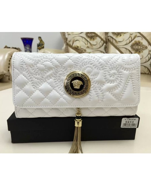 Versace High-quality Embroidered Lambskin Wallet 7800 White