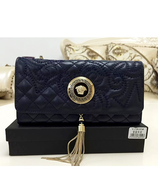 Versace High-quality Embroidered Lambskin Wallet 7800 Sapphire Blue