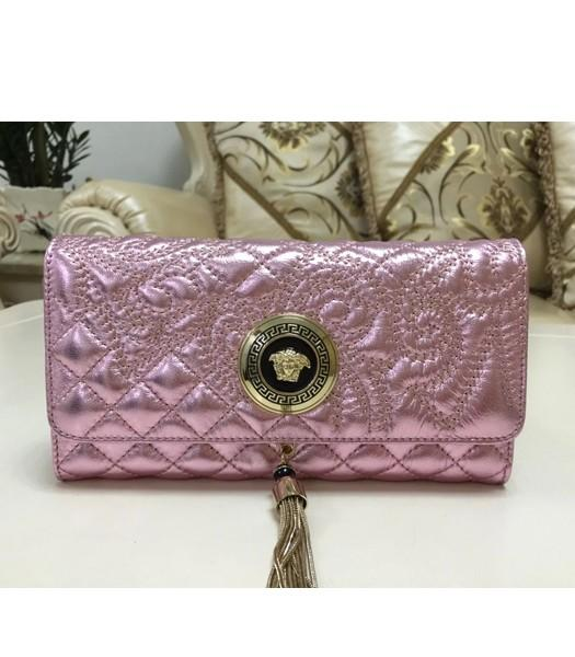 Versace High-quality Embroidered Lambskin Wallet 7800 Cherry Pink