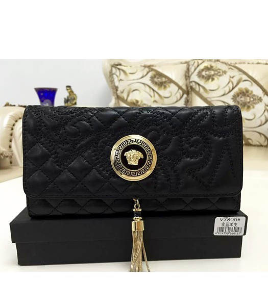 Versace High-quality Embroidered Lambskin Wallet 7800 Black