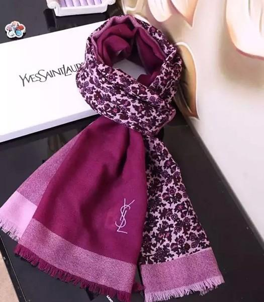 Yves Saint Laurent Big Fashion Scarf In Purple