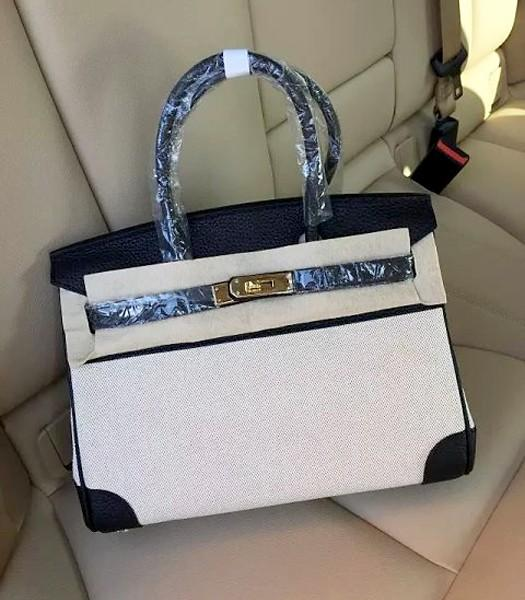 Hermes Birkin 25cm Fabric With Leather Tote Bag Black