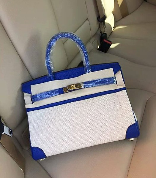 Hermes Birkin 25cm Fabric With Leather Tote Bag Electric Blue