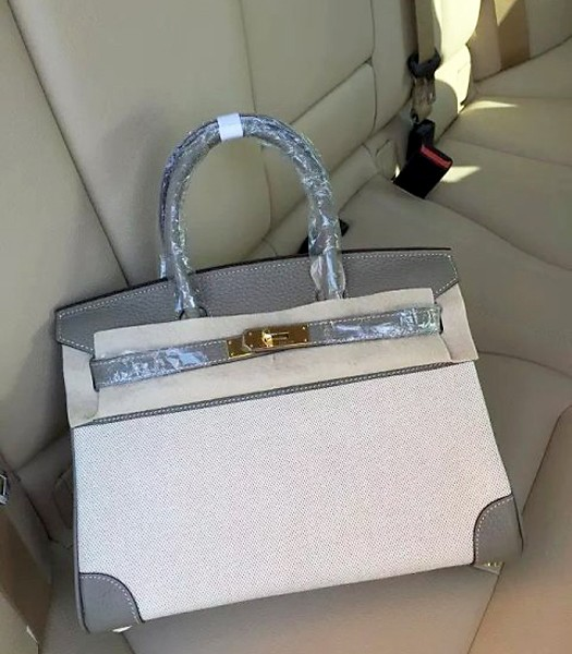 Hermes Birkin 25cm Fabric With Leather Tote Bag Dark Grey