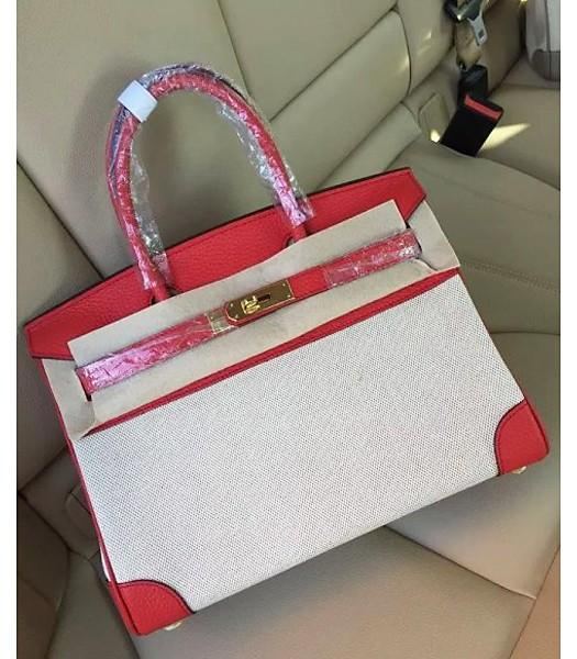 Hermes Birkin 25cm Fabric With Leather Tote Bag Red