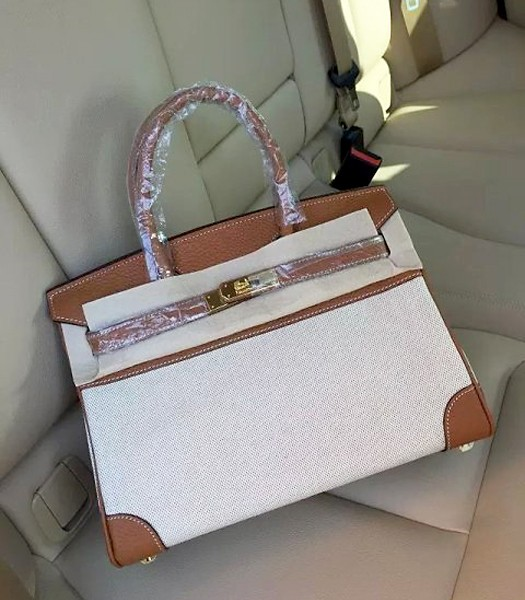 Hermes Birkin 25cm Fabric With Leather Tote Bag Earth Yellow