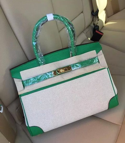 Hermes Birkin 25cm Fabric With Leather Tote Bag Green