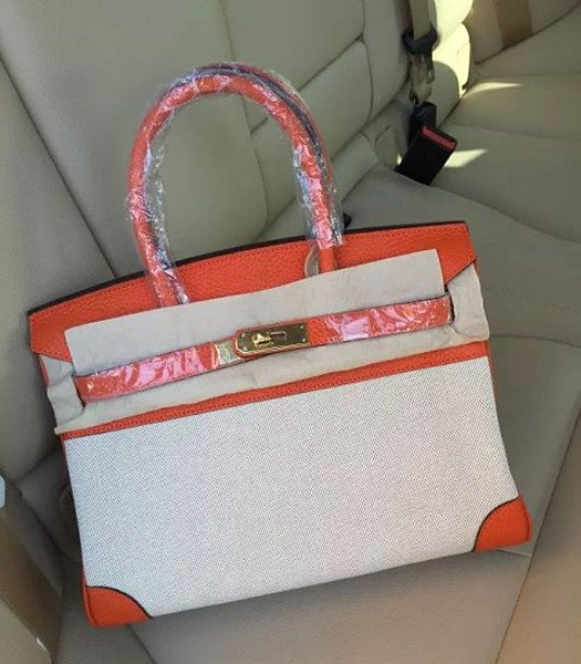 Hermes Birkin 25cm Fabric With Leather Tote Bag Orange