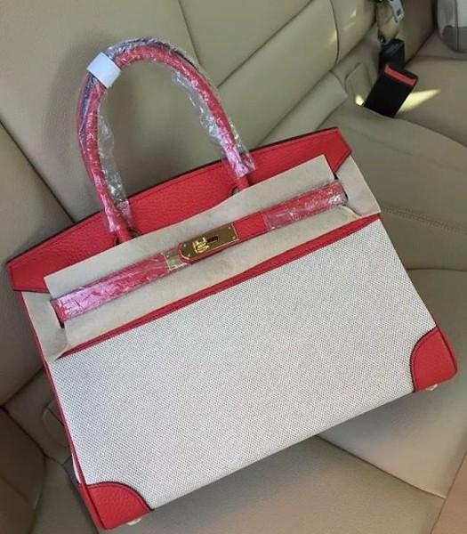 Hermes Birkin 30cm Fabric With Leather Tote Bag Red