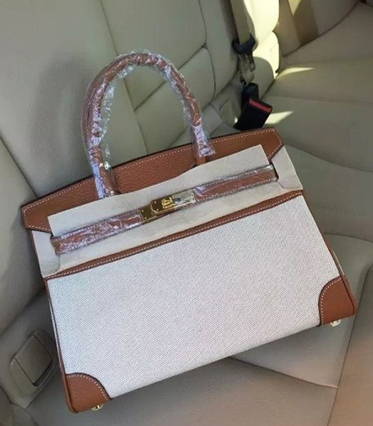 Hermes Birkin 30cm Fabric With Leather Tote Bag Earth Yellow