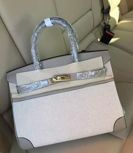Hermes Birkin 30cm Fabric With Leather Tote Bag Grey