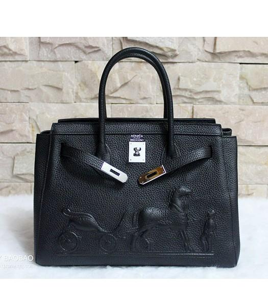 Hermes 35cm Togo Leather Horse-drawn Tote Bag Black