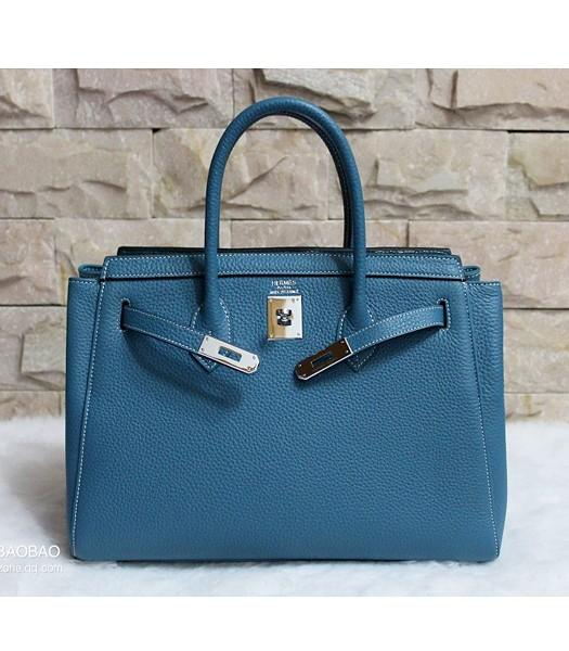 Hermes 35cm Togo Leather Tote Bag In Blue