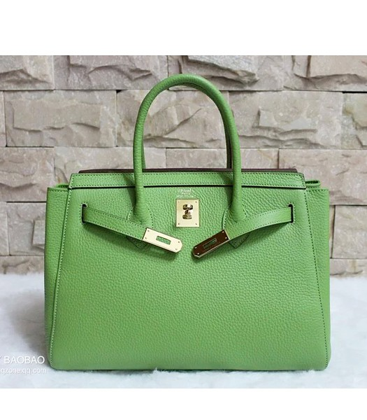 Hermes 35cm Togo Leather Tote Bag In Green