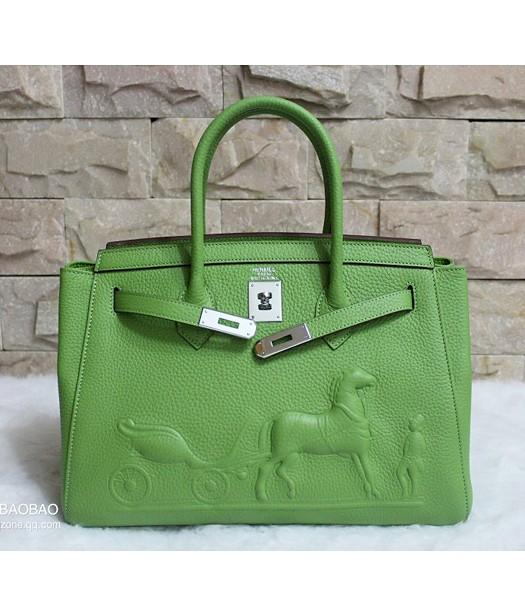 Hermes 35cm Togo Leather Horse-drawn Tote Bag In Green