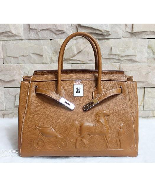 Hermes 35cm Togo Leather Horse-drawn Tote Bag In Earth Yellow