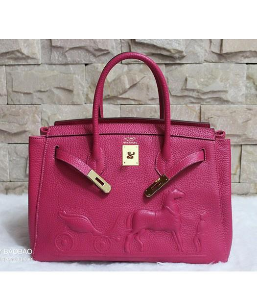 Hermes 35cm Togo Leather Horse-drawn Tote Bag In Rose Red