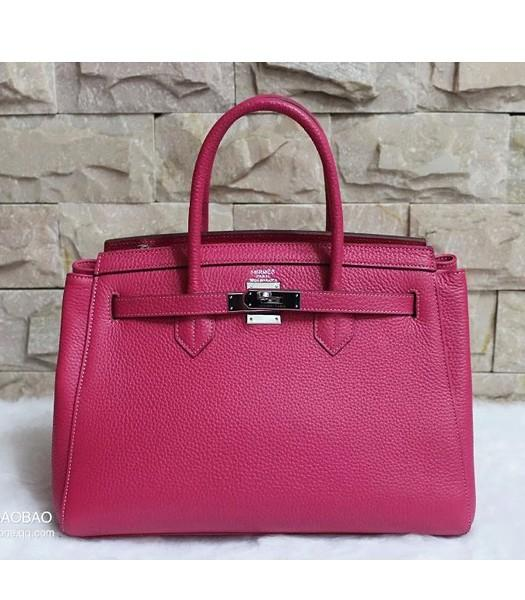 Hermes 35cm Togo Leather Tote Bag In Rose Red