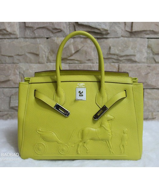 Hermes 35cm Togo Leather Horse-drawn Tote Bag In Lemon Yellow
