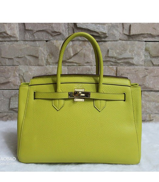 Hermes 35cm Togo Leather Tote Bag In Lemon Yellow