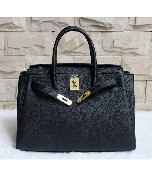 Hermes 35cm Togo Leather Tote Bag In Black
