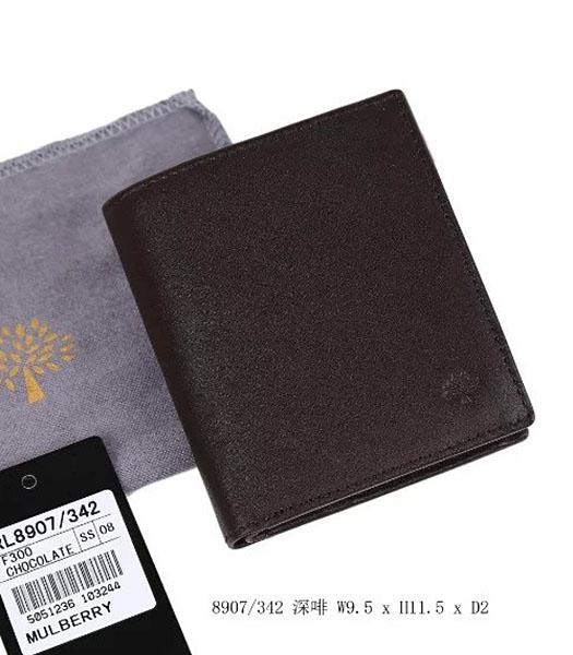 Mulberry High-quality Dark Coffee Leather Wallet