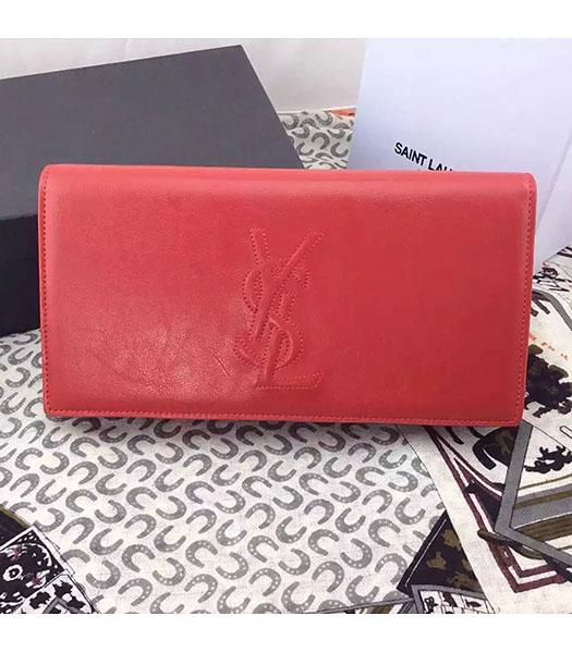 Yves Saint Laurent Original Leather Plain Veins Clutch Red