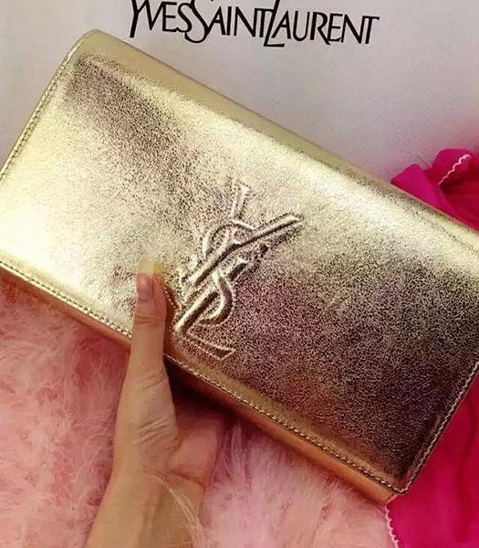 Yves Saint Laurent Original Leather Plain Veins Clutch Gold