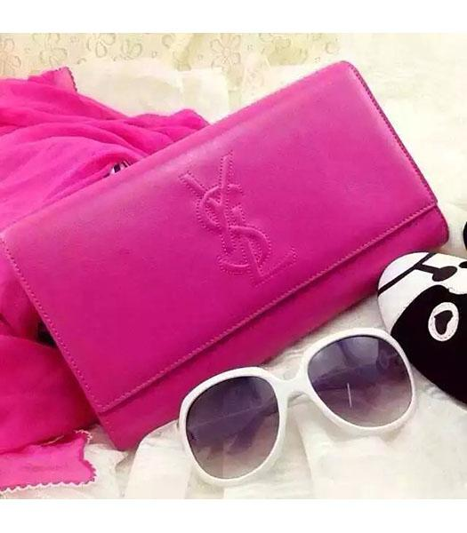 Yves Saint Laurent Original Leather Plain Veins Clutch Fuchsia