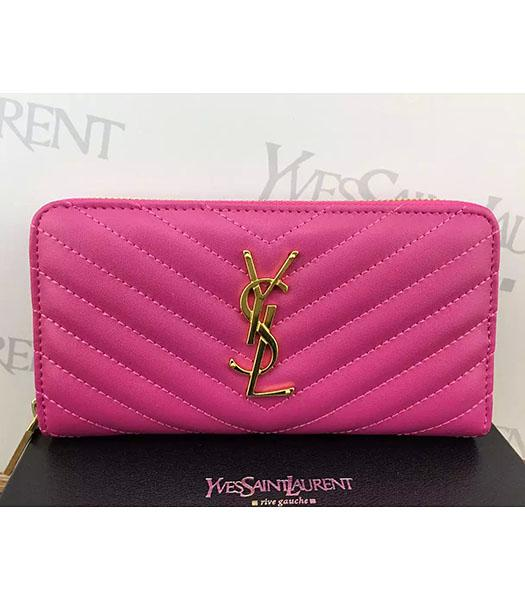 YSL Calfskin Leather Plain Veins Rose Red Wallet