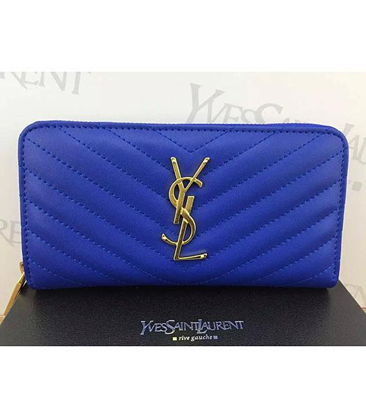 YSL Calfskin Leather Plain Veins Blue Wallet