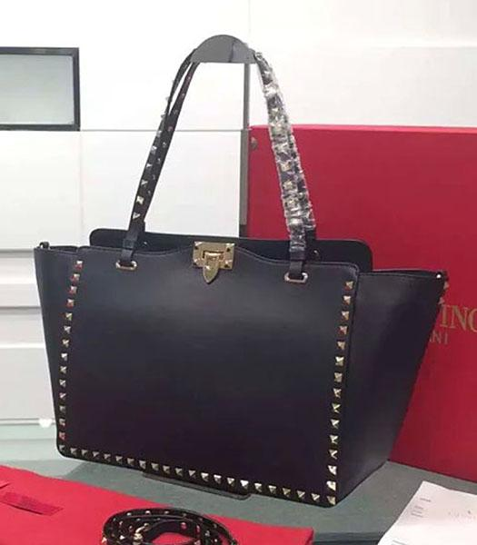 Valentino Medium Tote Bag Black Original Leather Golden Nail