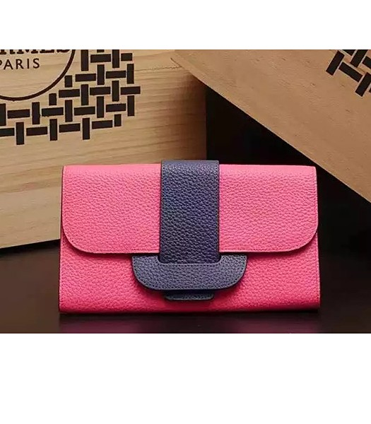 Hermes Latest Design Leather Fashion Clutch Rose Red