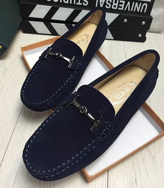 Tod's Suede Leather Doug Sapphire Shoes